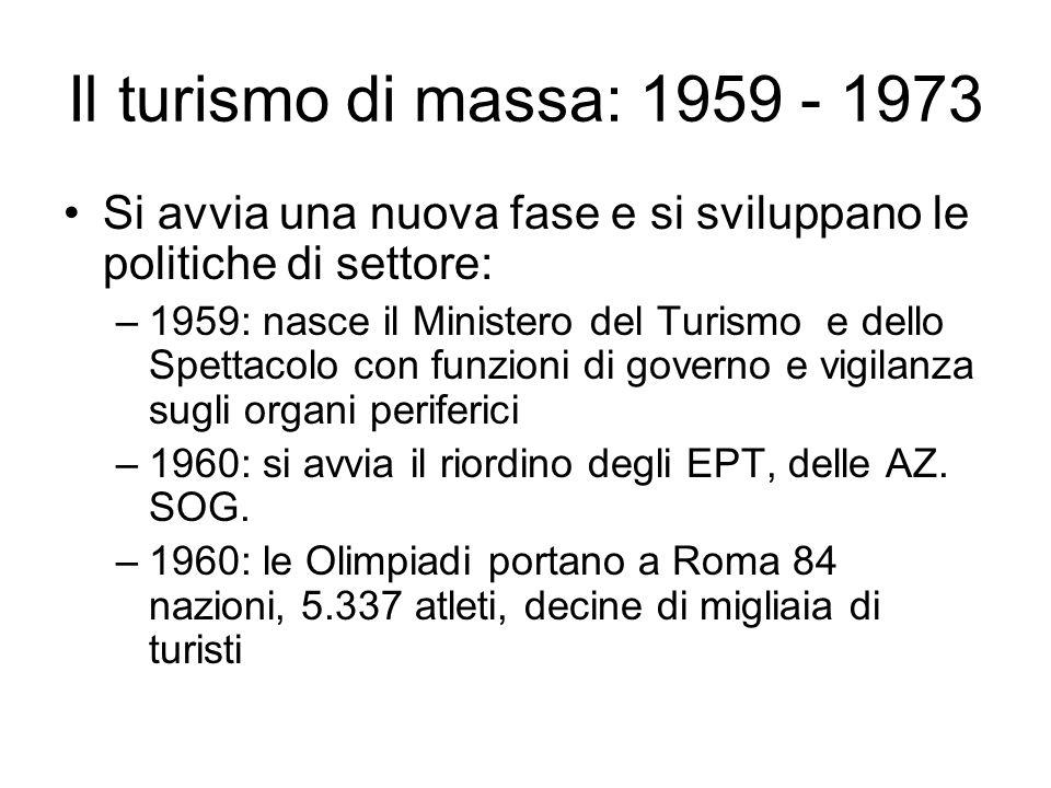 Il turismo di massa: 1959 - 1973 Si avvia una nuova fase e si sviluppano le politiche di settore: