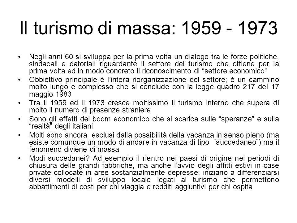 Il turismo di massa: 1959 - 1973