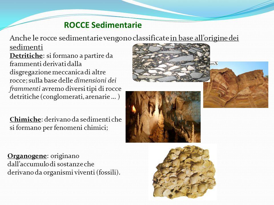 ROCCE Sedimentarie Anche le rocce sedimentarie vengono classificate in base all'origine dei sedimenti.