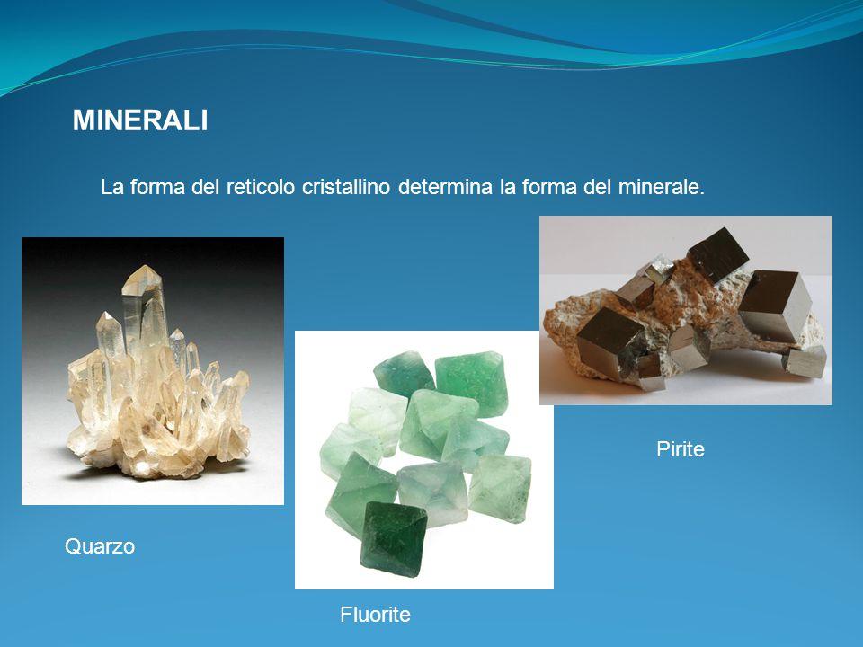 MINERALI La forma del reticolo cristallino determina la forma del minerale. Pirite Quarzo Fluorite