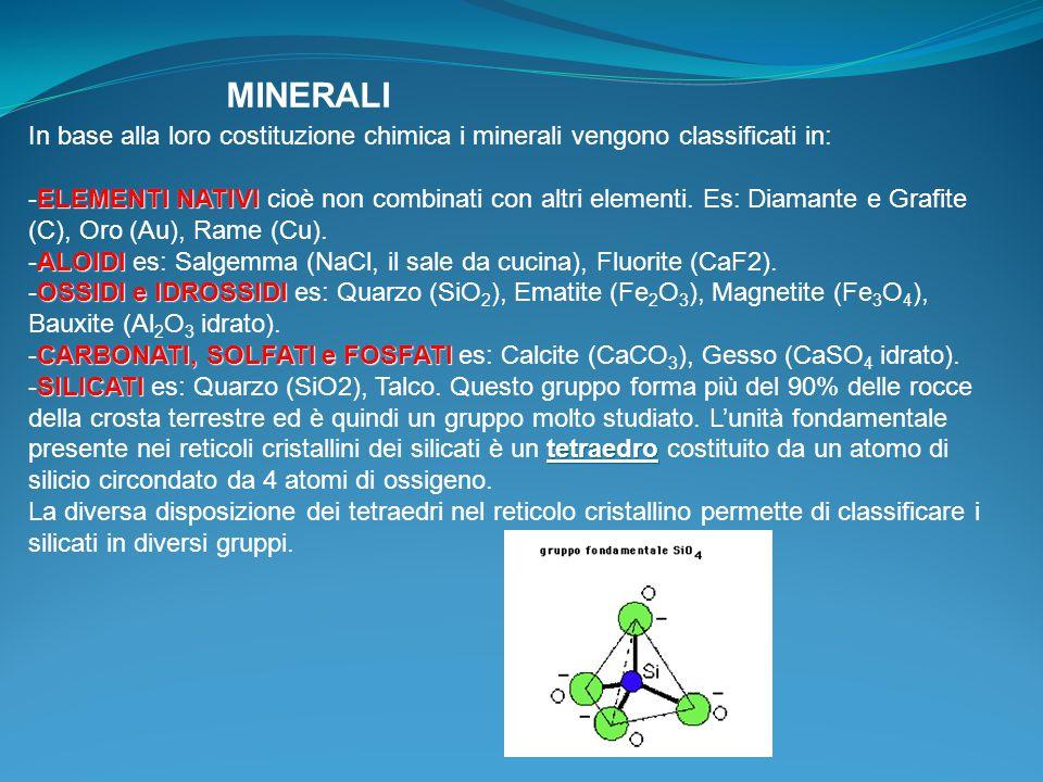 MINERALI In base alla loro costituzione chimica i minerali vengono classificati in: