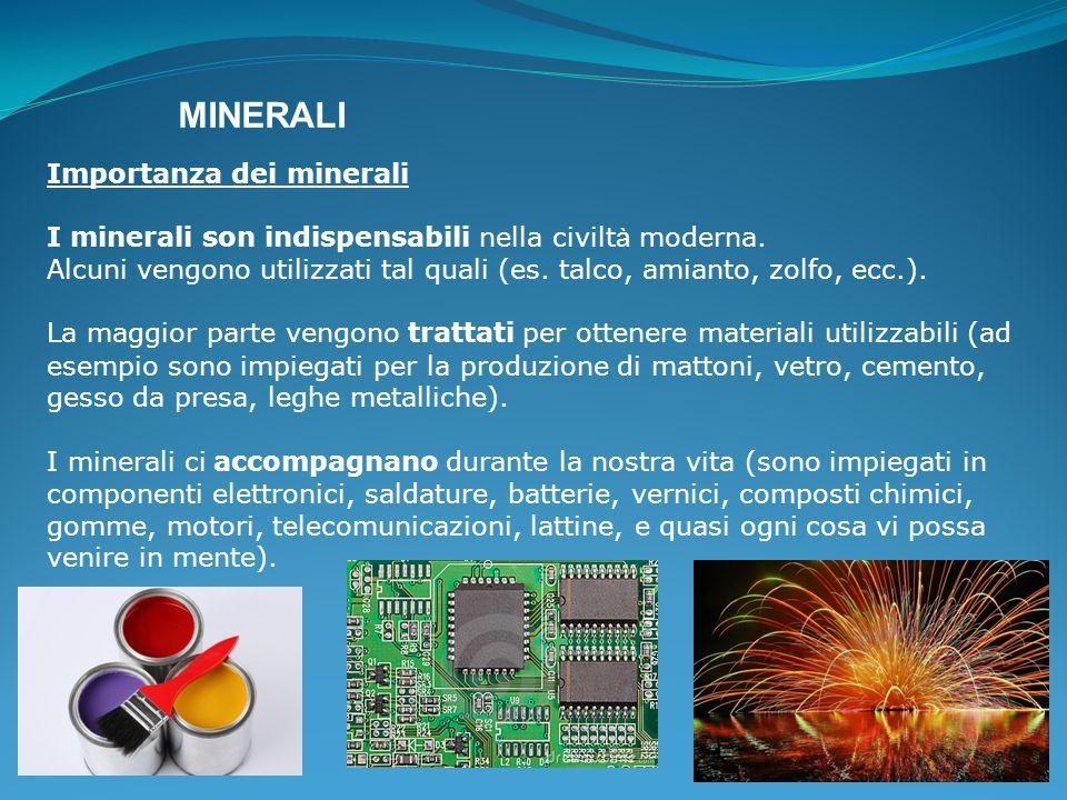MINERALI Importanza dei minerali