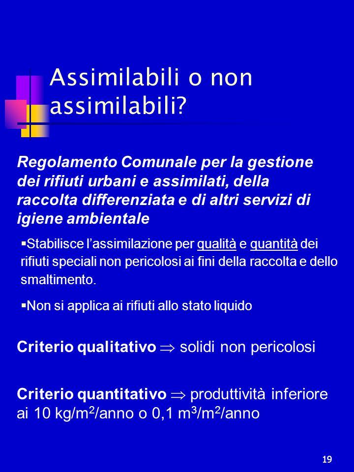 Assimilabili o non assimilabili