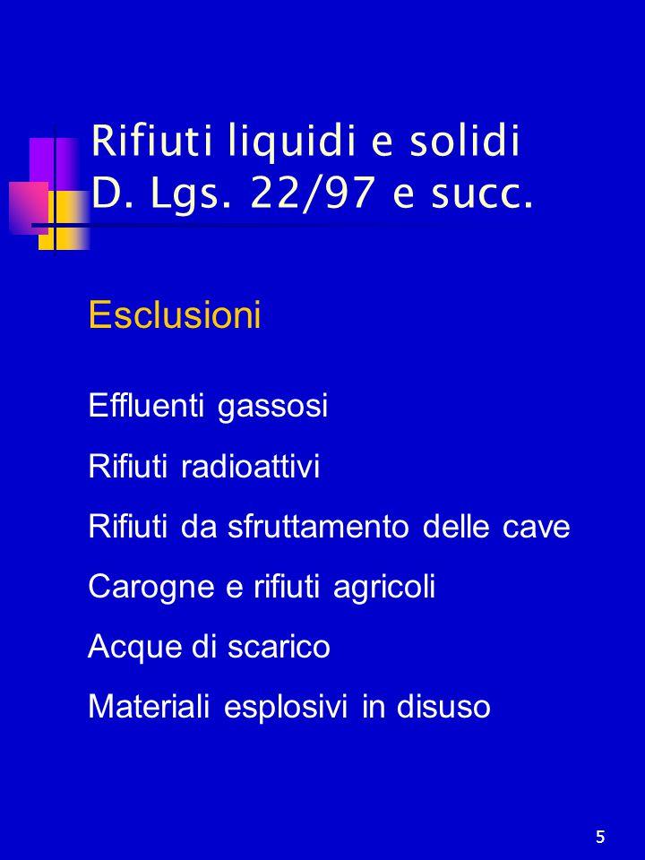 Rifiuti liquidi e solidi D. Lgs. 22/97 e succ.