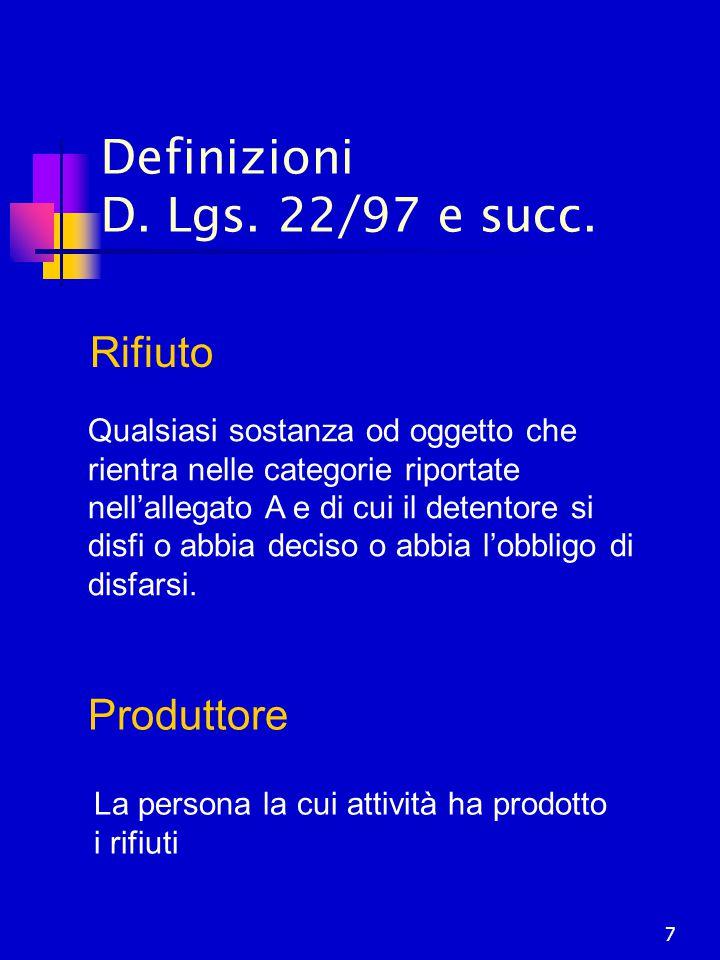 Definizioni D. Lgs. 22/97 e succ.