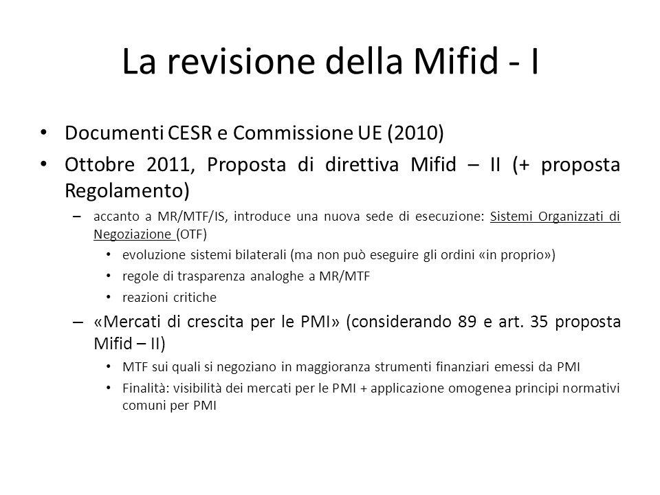 La revisione della Mifid - I