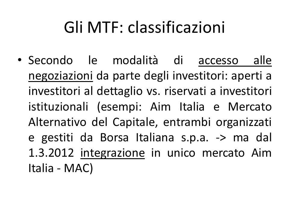 Gli MTF: classificazioni