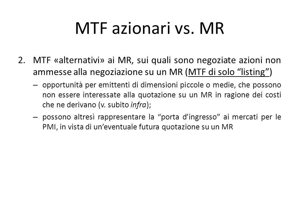 MTF azionari vs. MR MTF «alternativi» ai MR, sui quali sono negoziate azioni non ammesse alla negoziazione su un MR (MTF di solo listing )