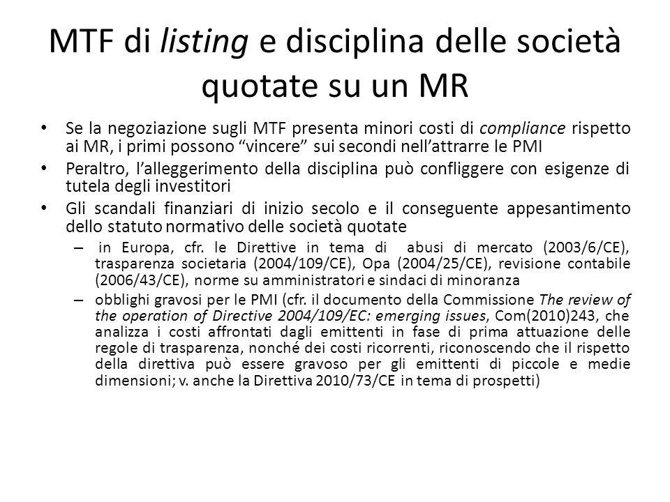 MTF di listing e disciplina delle società quotate su un MR