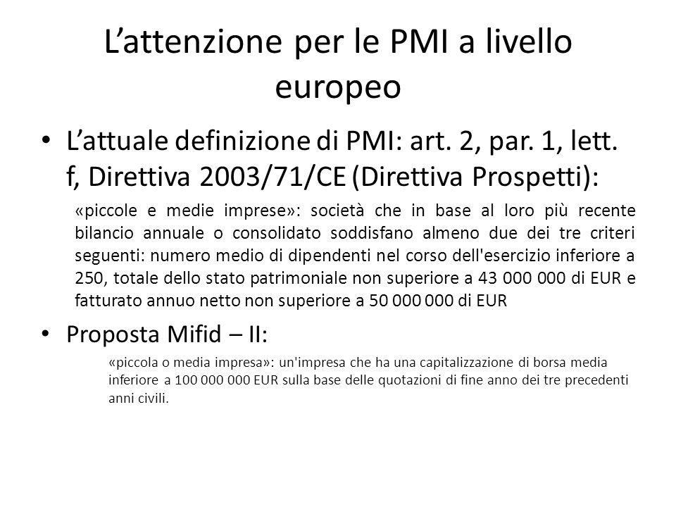 L'attenzione per le PMI a livello europeo