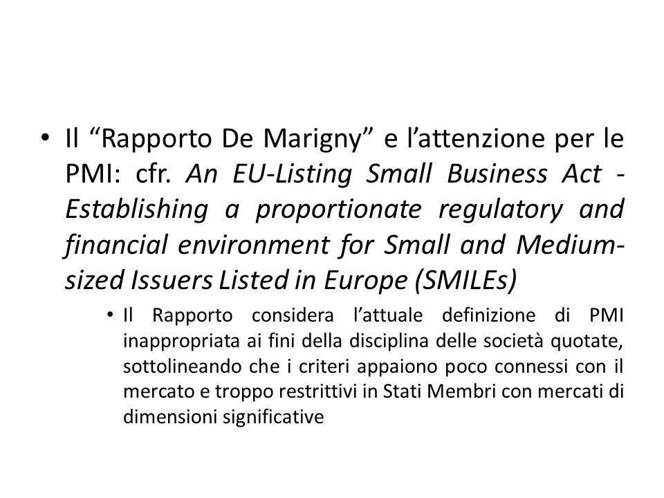 Il Rapporto De Marigny e l'attenzione per le PMI: cfr