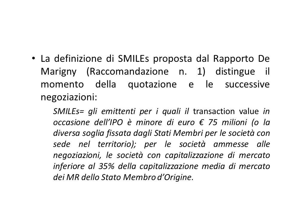 La definizione di SMILEs proposta dal Rapporto De Marigny (Raccomandazione n. 1) distingue il momento della quotazione e le successive negoziazioni: