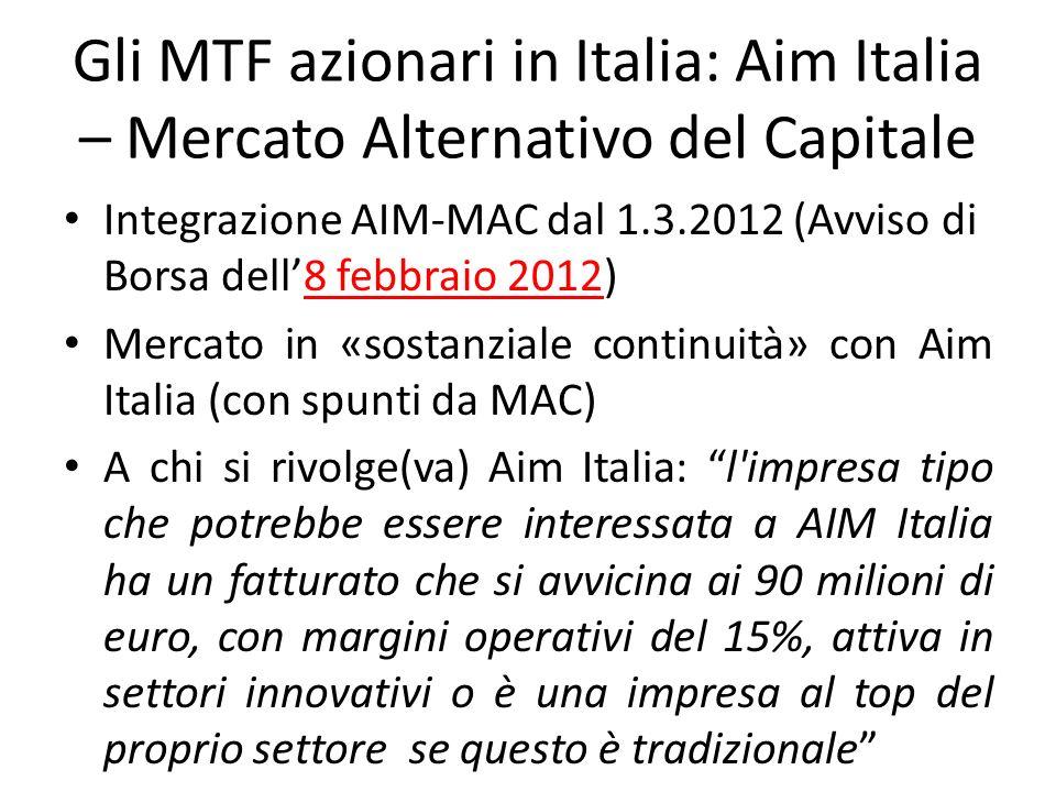 Gli MTF azionari in Italia: Aim Italia – Mercato Alternativo del Capitale