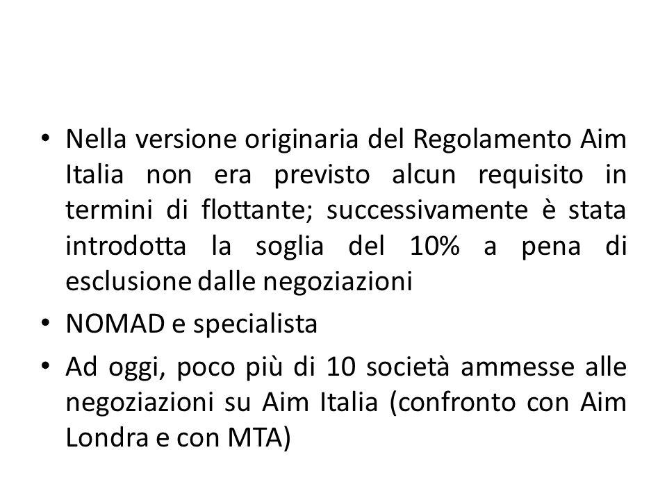 Nella versione originaria del Regolamento Aim Italia non era previsto alcun requisito in termini di flottante; successivamente è stata introdotta la soglia del 10% a pena di esclusione dalle negoziazioni