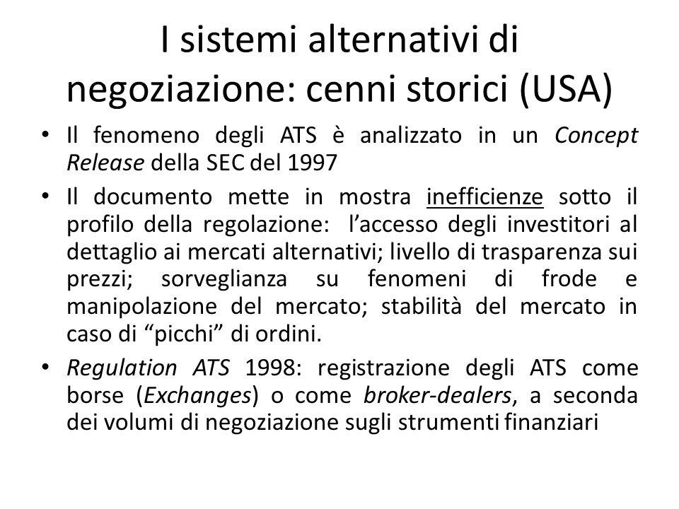 I sistemi alternativi di negoziazione: cenni storici (USA)