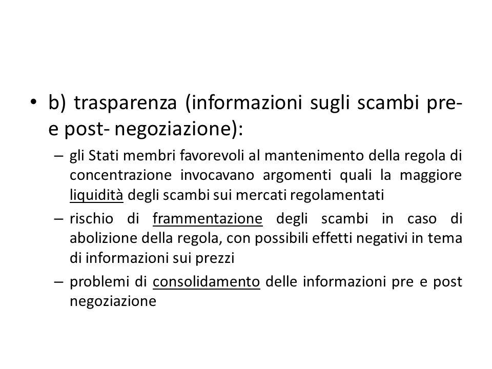 b) trasparenza (informazioni sugli scambi pre- e post- negoziazione):