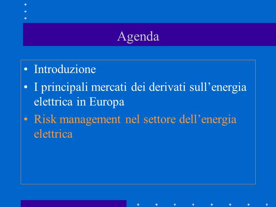 Agenda Introduzione. I principali mercati dei derivati sull'energia elettrica in Europa.