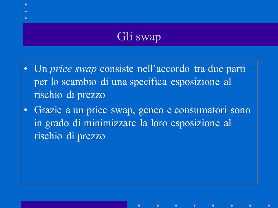 Gli swap Un price swap consiste nell'accordo tra due parti per lo scambio di una specifica esposizione al rischio di prezzo.