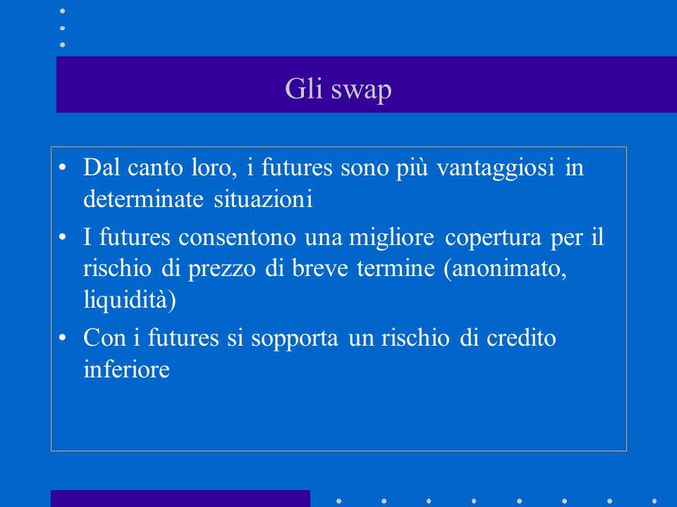 Gli swap Dal canto loro, i futures sono più vantaggiosi in determinate situazioni.