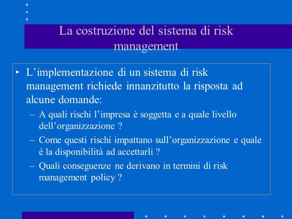 La costruzione del sistema di risk management
