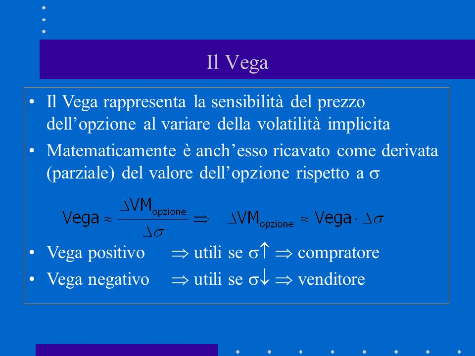 Il Vega Il Vega rappresenta la sensibilità del prezzo dell'opzione al variare della volatilità implicita.