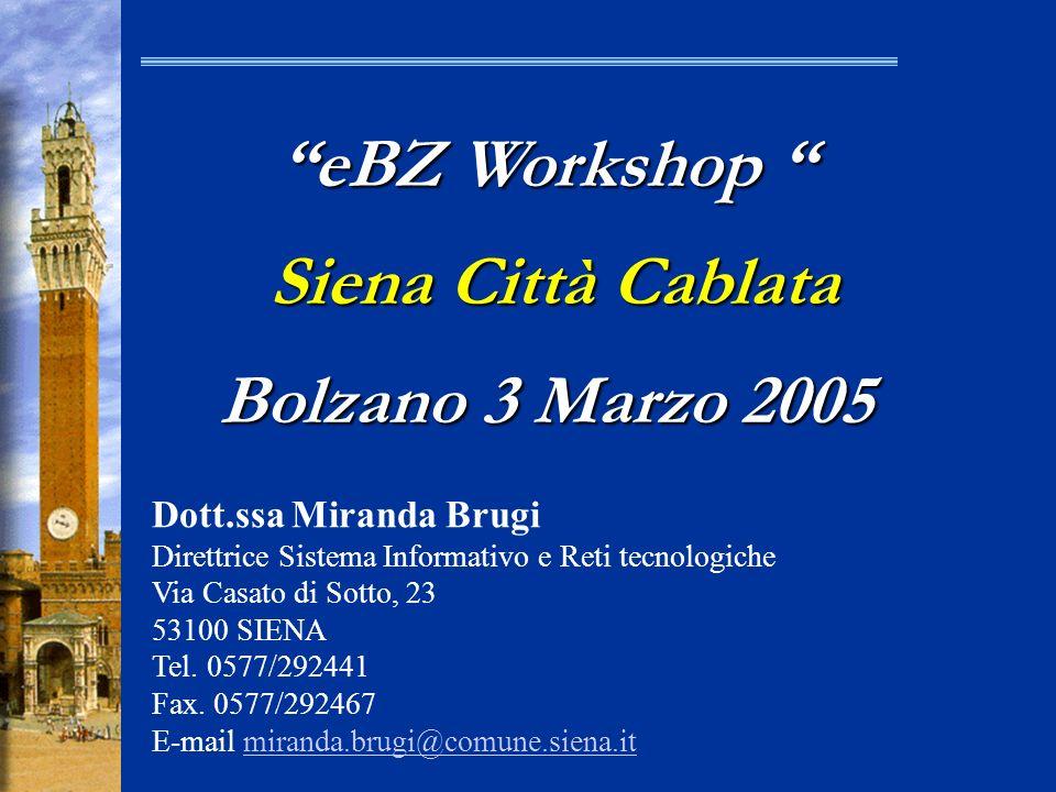 eBZ Workshop Siena Città Cablata Bolzano 3 Marzo 2005