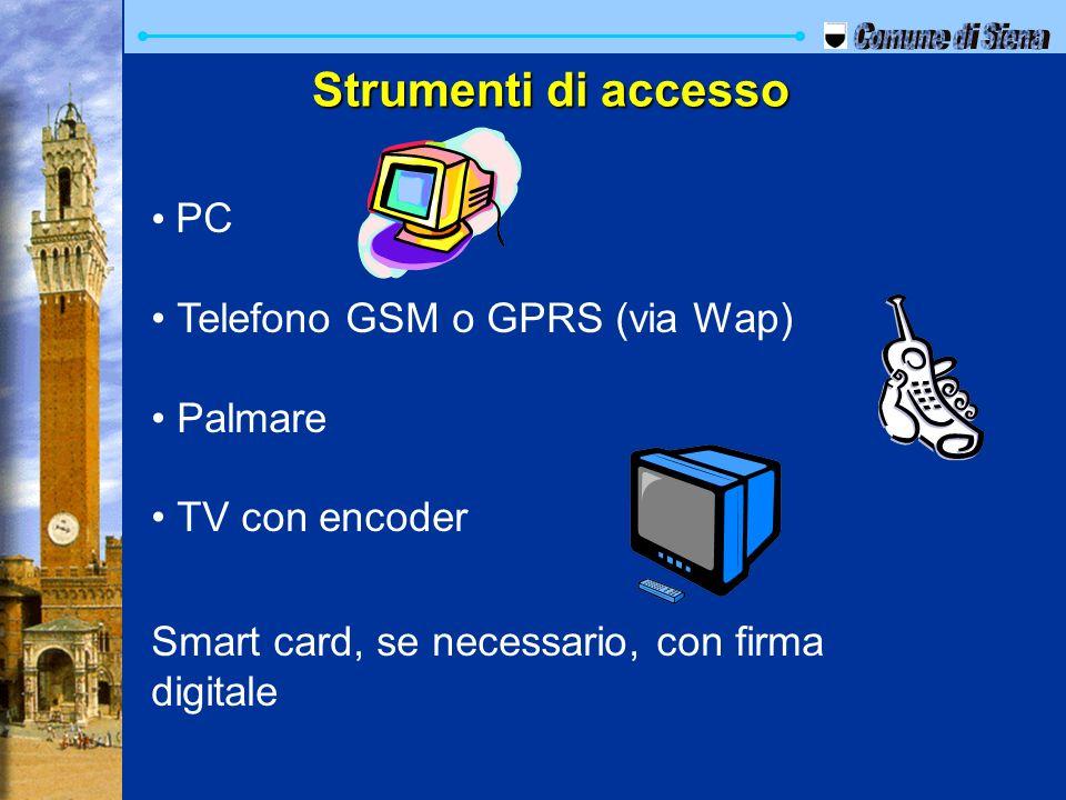 Comune di Siena Strumenti di accesso PC Telefono GSM o GPRS (via Wap)