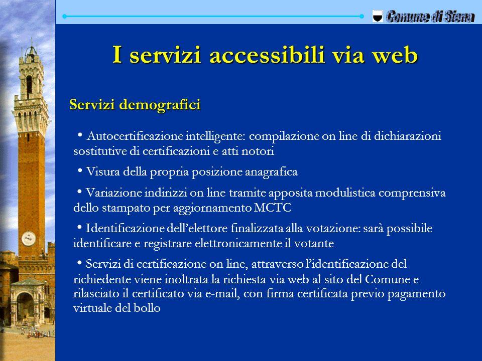 I servizi accessibili via web