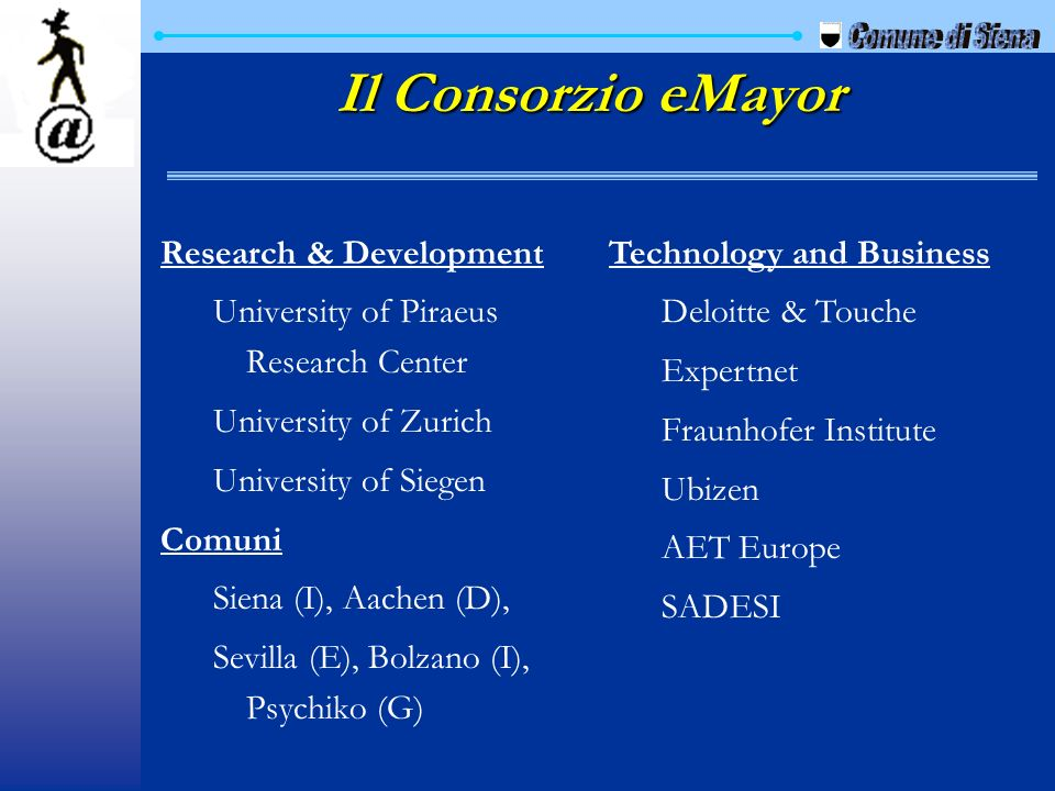 Il Consorzio eMayor Comune di Siena Research & Development