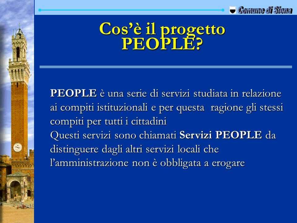 Cos'è il progetto PEOPLE
