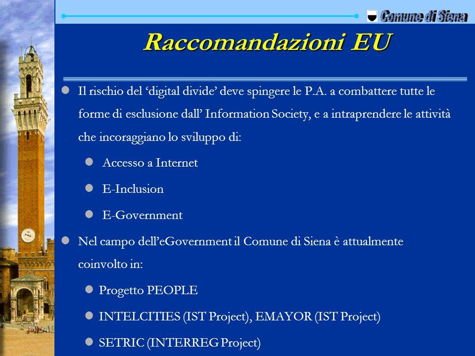 Raccomandazioni EU Comune di Siena