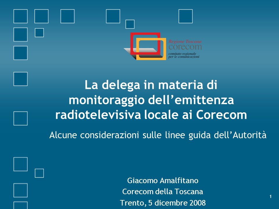 La delega in materia di monitoraggio dell'emittenza radiotelevisiva locale ai Corecom