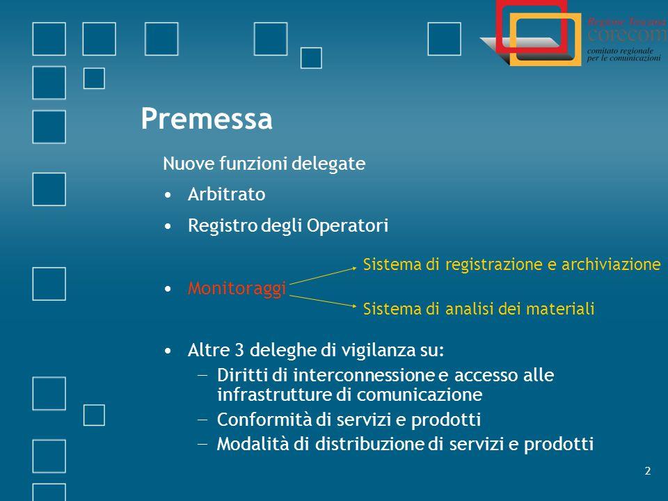 Premessa Nuove funzioni delegate Arbitrato Registro degli Operatori