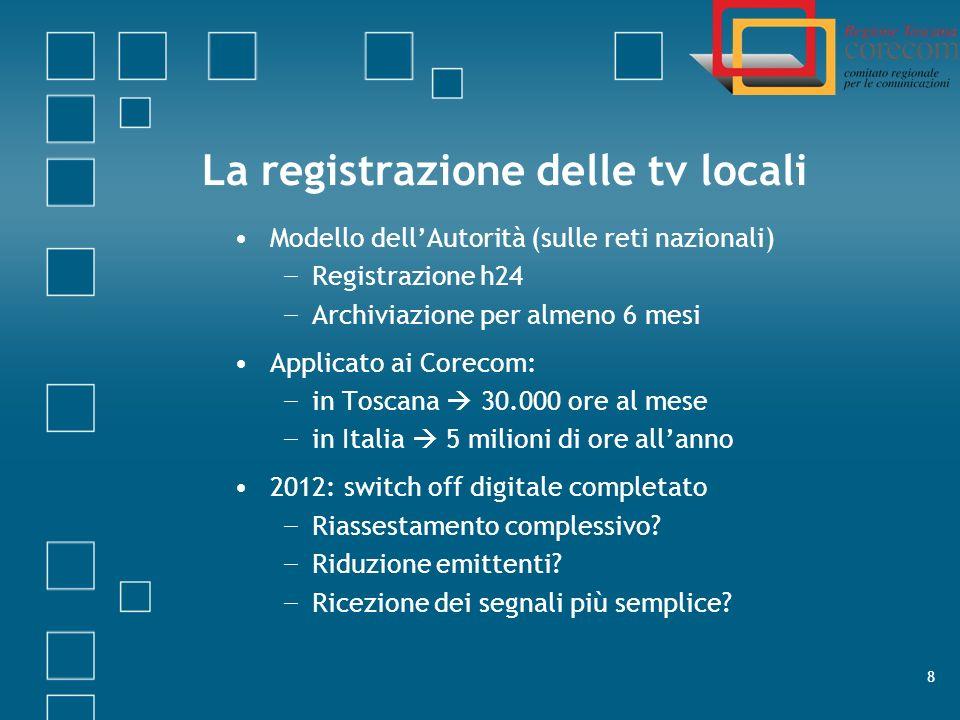 La registrazione delle tv locali