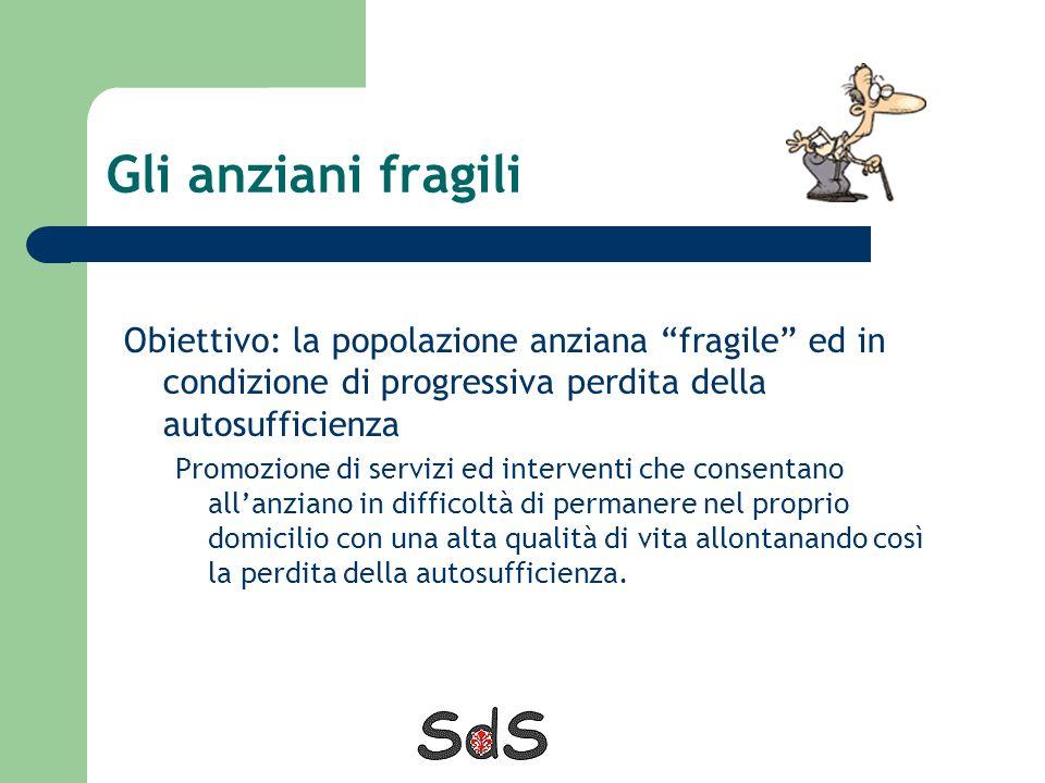 Gli anziani fragili Obiettivo: la popolazione anziana fragile ed in condizione di progressiva perdita della autosufficienza.