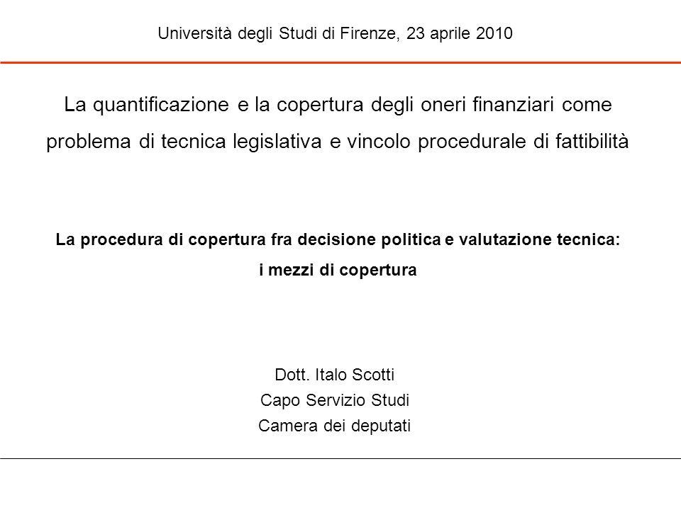Dott. Italo Scotti Capo Servizio Studi Camera dei deputati