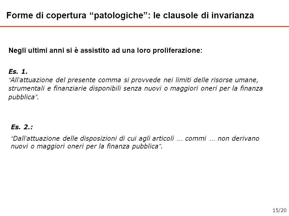Forme di copertura patologiche : le clausole di invarianza