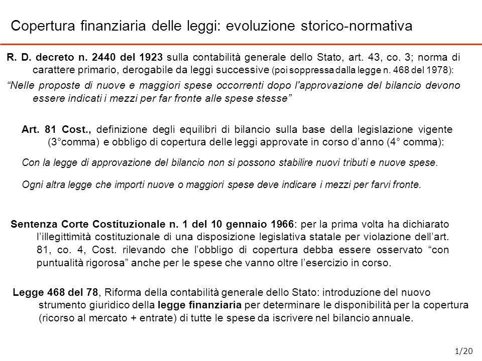 Copertura finanziaria delle leggi: evoluzione storico-normativa