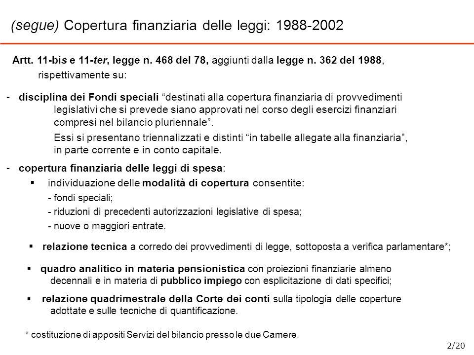 (segue) Copertura finanziaria delle leggi: 1988-2002