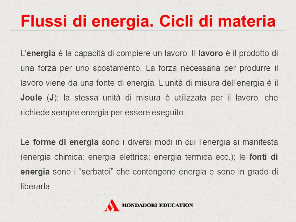 Flussi di energia. Cicli di materia
