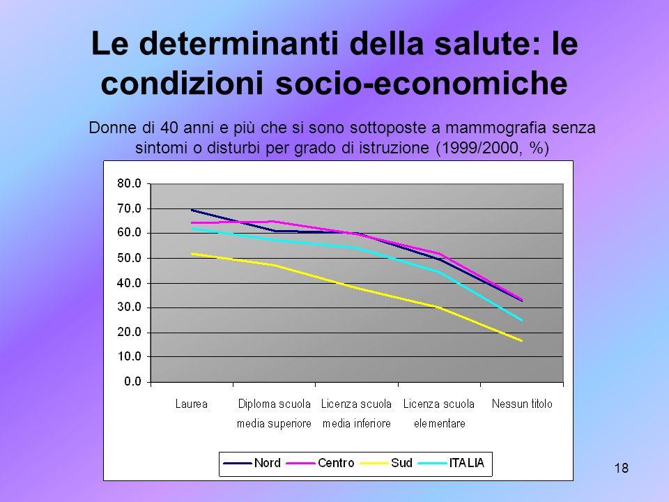 Le determinanti della salute: le condizioni socio-economiche