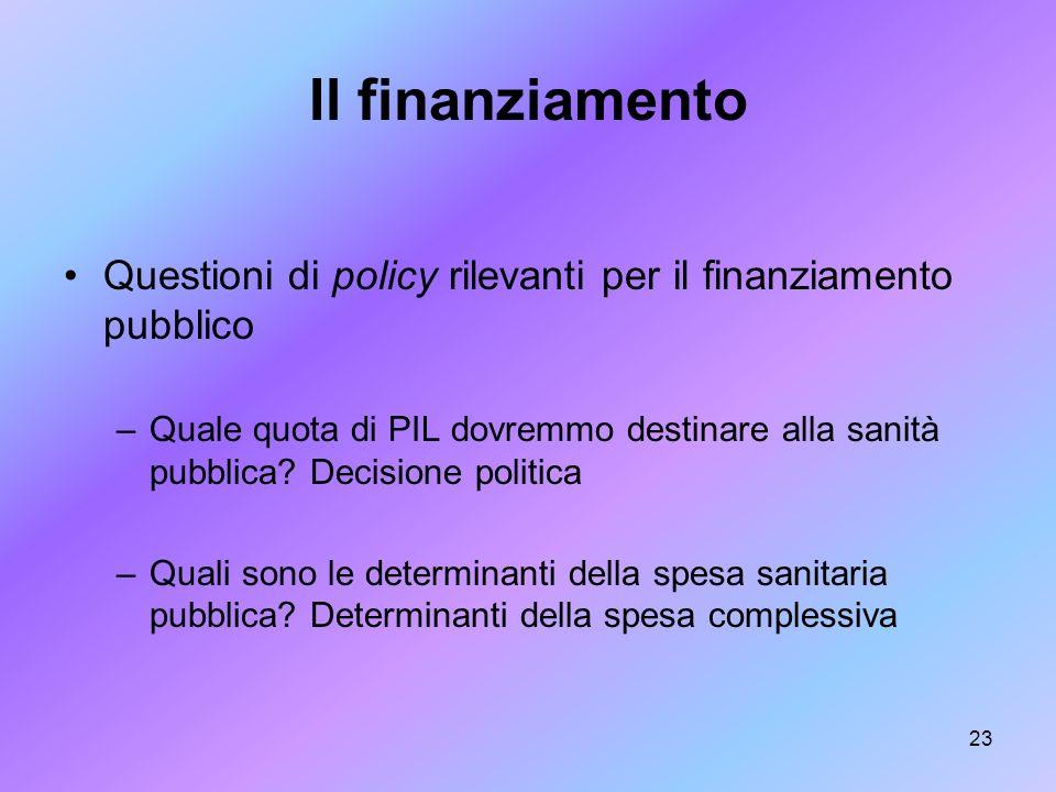 Il finanziamento Questioni di policy rilevanti per il finanziamento pubblico.