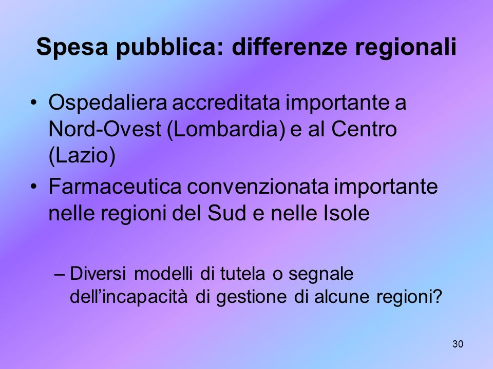 Spesa pubblica: differenze regionali
