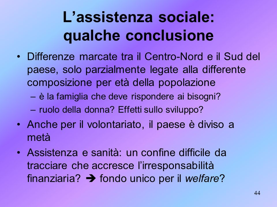 L'assistenza sociale: qualche conclusione