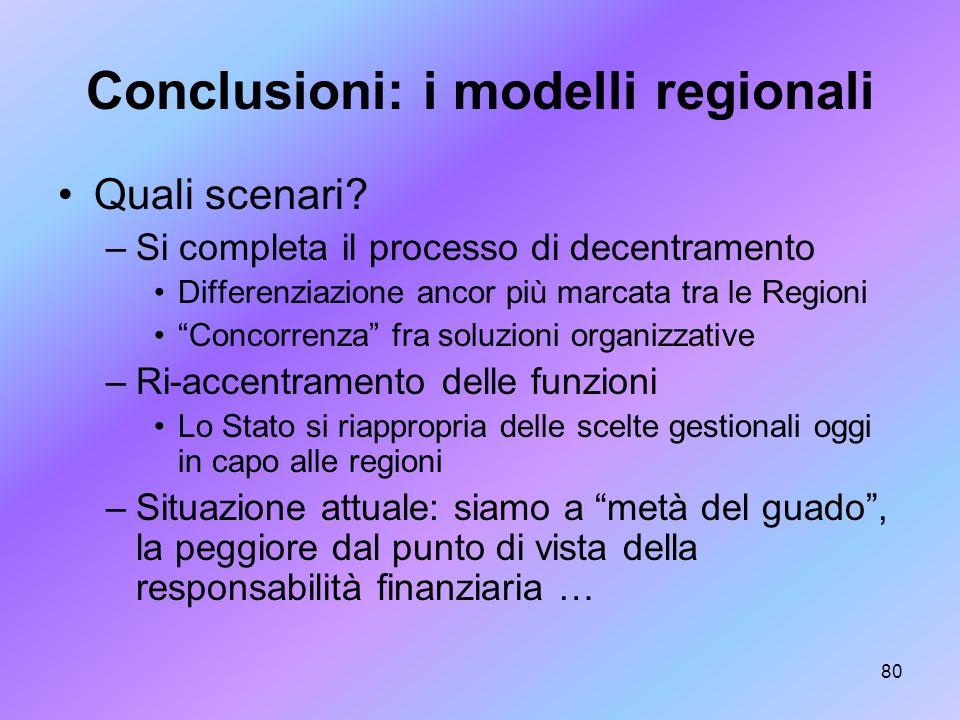 Conclusioni: i modelli regionali