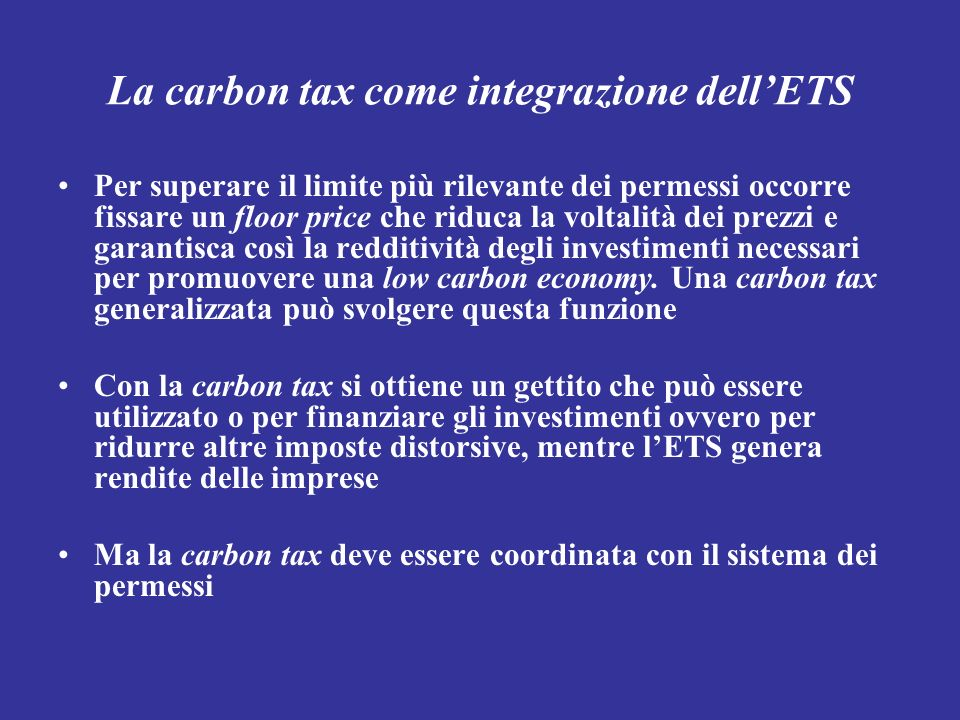 La carbon tax come integrazione dell'ETS