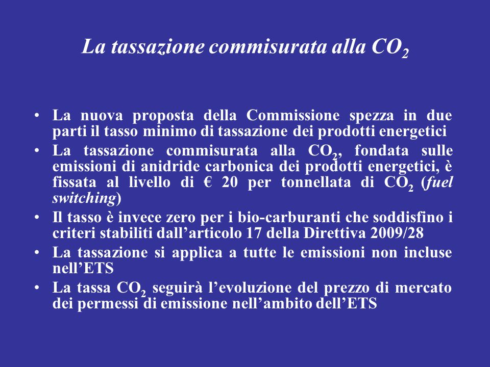 La tassazione commisurata alla CO2