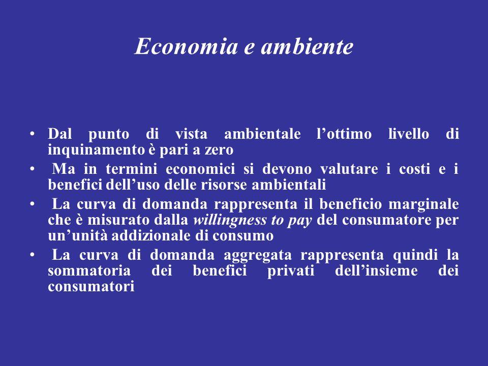 Economia e ambiente Dal punto di vista ambientale l'ottimo livello di inquinamento è pari a zero.