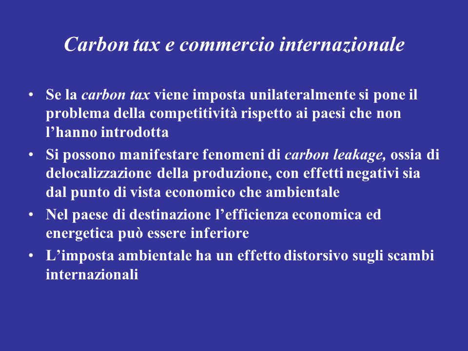 Carbon tax e commercio internazionale
