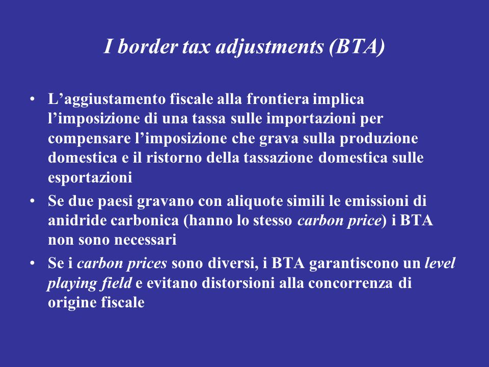 I border tax adjustments (BTA)